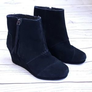 Tom's wedge bootie side zipper black Size 7